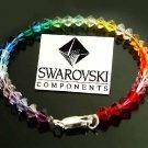 Rainbow Swarovski Crystal Sterling Silver Boho Anklet