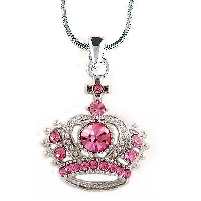 Pink Royal Crown Cross Swarovski Crystal Pendant Necklace