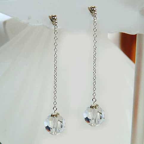 Bridal Swarovski Cystal Ball Long Sterling Silver Chain Earrings