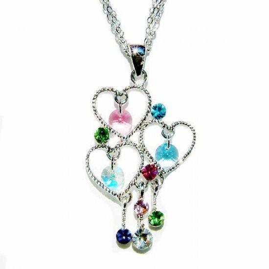 3 Strand Dangle Heart Swarovski Drop Pendant Necklace