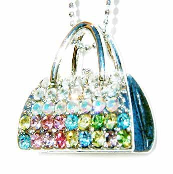 Rainbow Handbag Swarovski Crystal Necklace