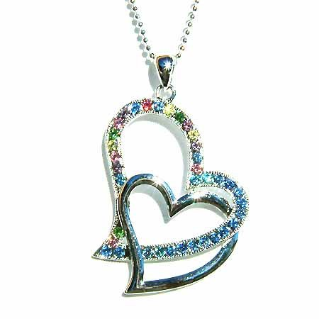 Aqua Double Cutout Heart Swarovski Crystal Necklace