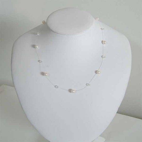 Floating Freshwater Pearl Swarovski Crystal Silver Necklace
