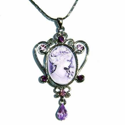 Antique Lilac Cameo Swarovski Crystal Necklace