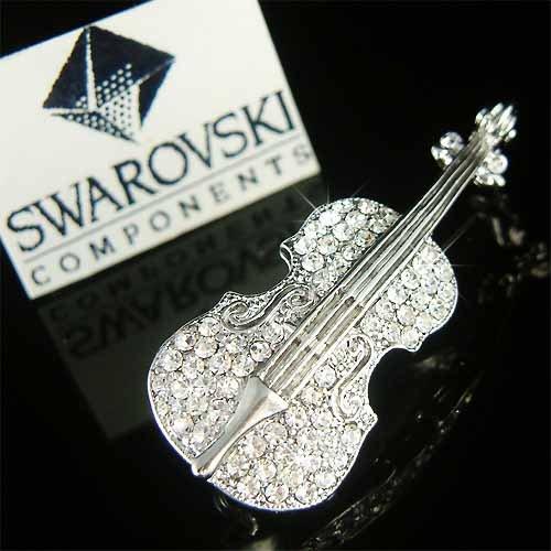 Violin Viola Cello Swarovski Crystal Musical Instrument Brooch