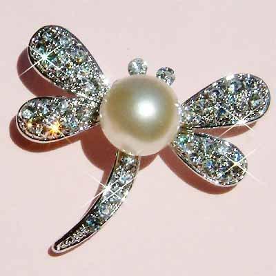 Pearl Dragonfly Swarovski Crystal Brooch