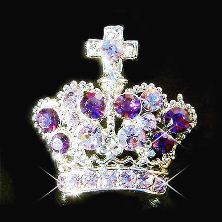 Purple Crown Cross Swarovski Crystal Brooch