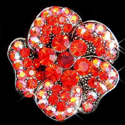 Siam Red Swarovski Crystal Flower Brooch