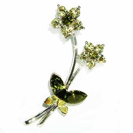 Garden Green Flower Butterfly Bouquet Swarovski Crystal Brooch