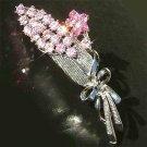 Pink Flower Bouquet Swarovski Crystal Brooch