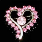 Pink Open Heart Swarovski Crystal Brooch