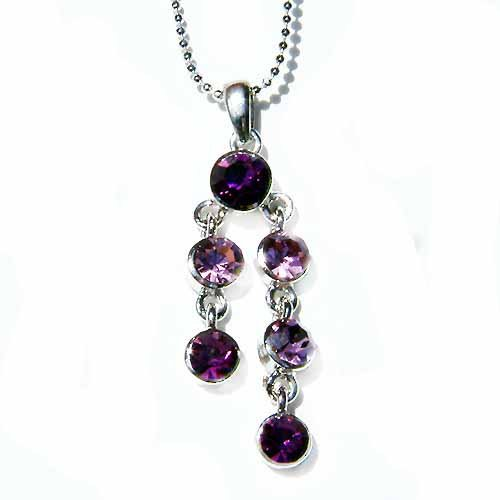 Swarovski Crystal Bridal Lilac Purple Drop Pendant Necklace