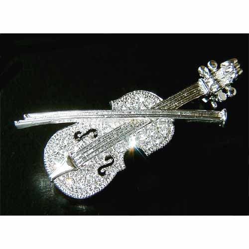 Violin Swarovski Crystal Musical Instrument Brooch