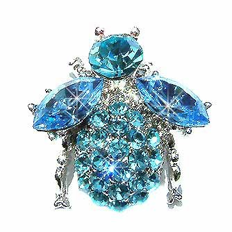 Bumble Bee Beetle Aqua Swarovski Crystal Brooch