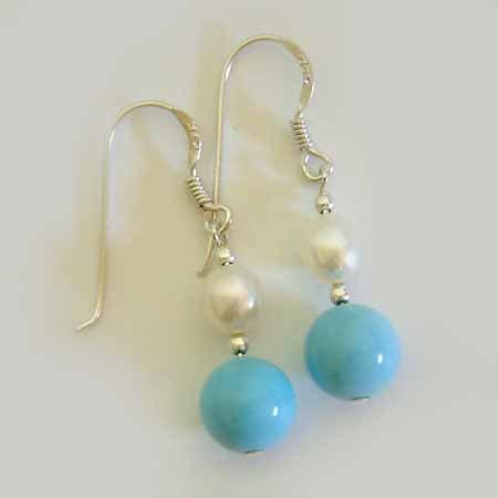 Turquoise Freshwater Pearl Sterling Silver Earrings