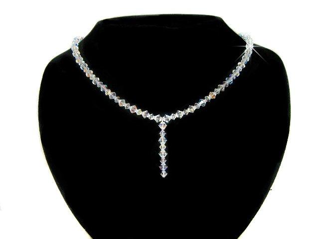 Swarovski Clear Cyrstal Bridal Wedding Sterling Silver Necklace