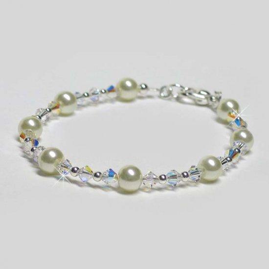 Swarovski Crystal and Swarovski Pearl Sterling Silver Bracelet