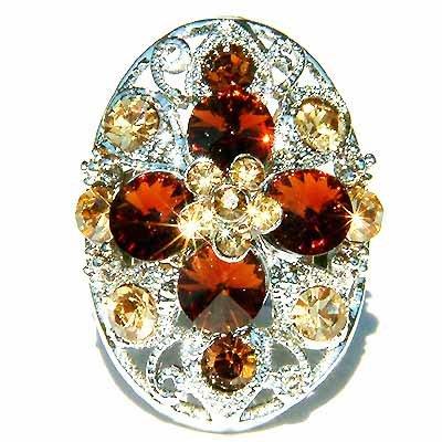 Topaz Gold Swarovski Crystal Cross Flower Cocktail Ring