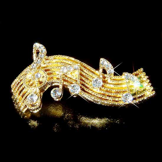 Gold Treble G Clef and Music Note Swarovski Crystal Brooch