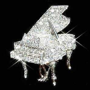 Swarovski Crystal Grand Piano Brooch