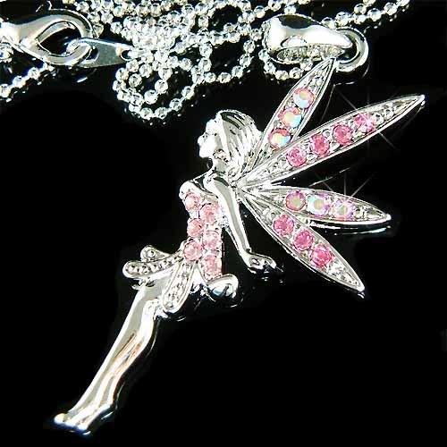 Pink Tinkerbell Angel Swarovski Crystal Necklace