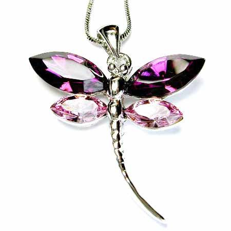Purple Dragonfly Swarovski Crystal Necklace