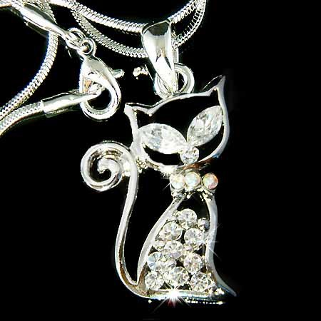 Pussy Cat Animal Lover Swarovski Crystal Pet Pendant Necklace