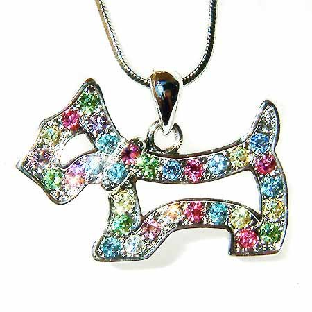 Rainbow Scottish Westie Dog Swarovski Crystal Necklace