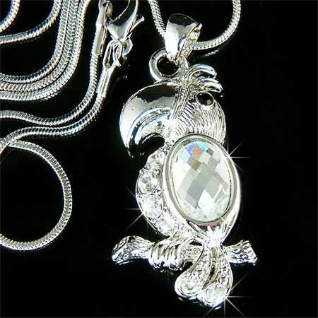 Lovely Swarovski Crystal Topical Tucan bird Pendant Necklace