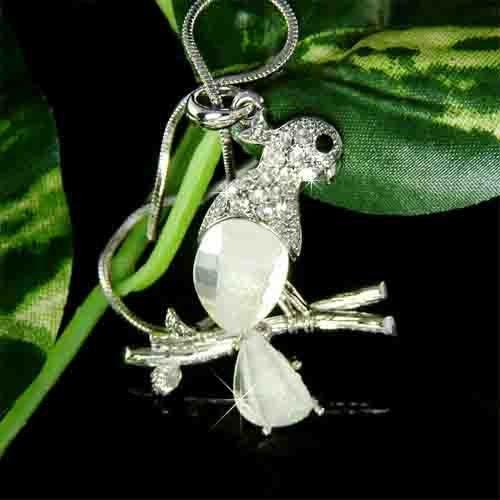 Clear Macaw Cockatiel Parrot Swarovski Crystal Necklace