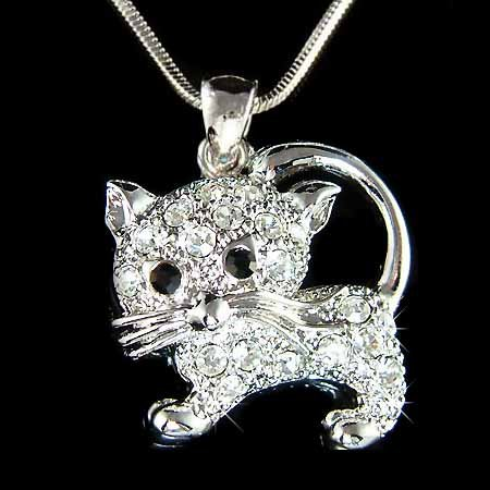 Animal Lover Swarovski Crystal Clear Cat Kitten Pendant Necklace