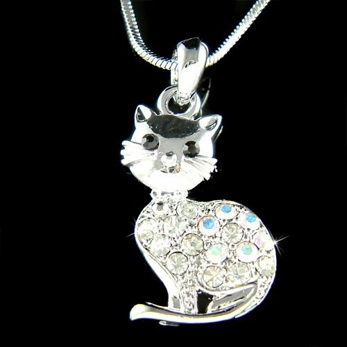 Clear Purring Cat Swarovski Crystal Animal Pet Pendant Necklace