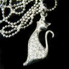 Clear Parisian Cat Swarovski Crystal Necklace