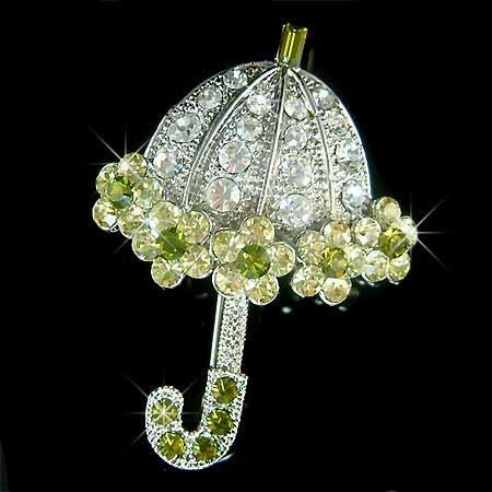 Christmas Green Umbrella Swarovski Crystal Brooch