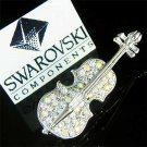 Swarovski Crystal Musical Instrument Cello Violin Brooch