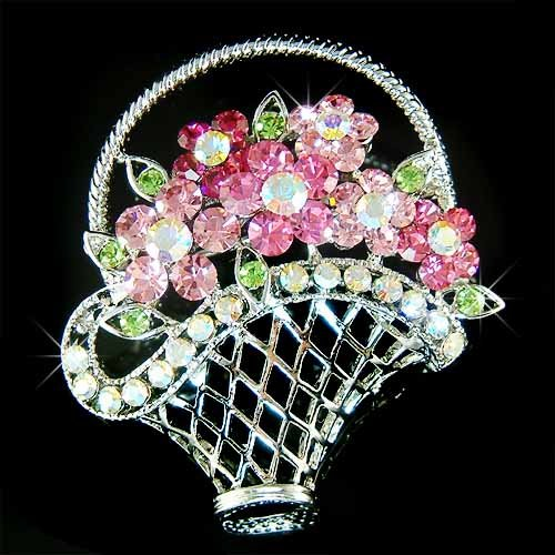 Rose Flower Basket Swarovski Crystal Brooch