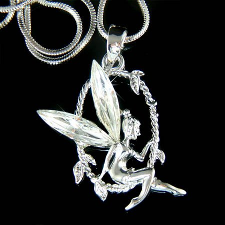 Tinker Bell Swarovski Crystal Tinkerbell Fairy Angel Necklace