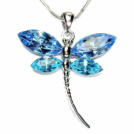Bridal Aqua Dragonfly Swarovski Crystal Pendant Necklace