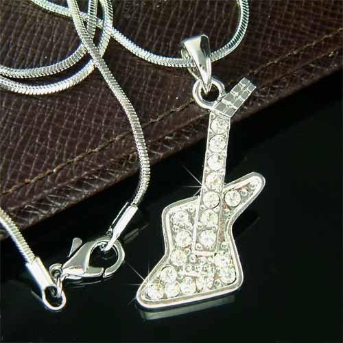 Gibson Explorer Rock Electric Guitar Swarovski Crystal Necklace