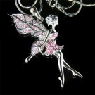 Couture Pink Tinkerbell Fairy Swarovski Crystal Necklace