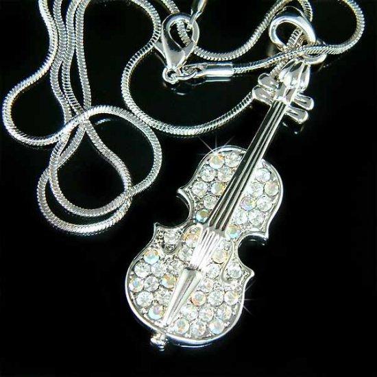 Clear Violin Music Musical Instrument Swarovski Crystal Necklace
