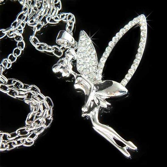 Huge Flying Tinkerbell Swarovski Crystal Necklace