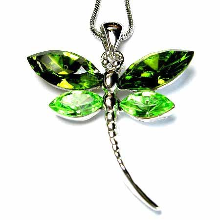 Christmas Green Dragonfly Swarovski Crystal Necklace