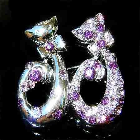 Purple Cat Lovers Swarovski Crystal Brooch