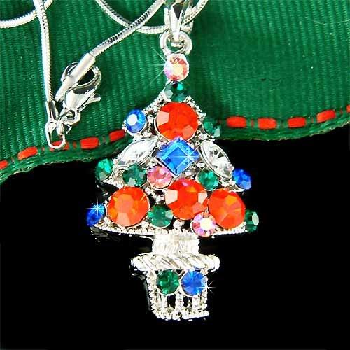 Christmas Tree Star Ornaments Holiday Swarovski Crystal Necklace