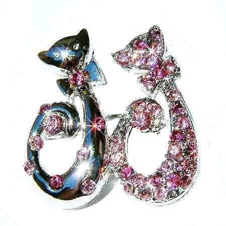 Pink Cat Lovers Swarovski Crystal Brooch
