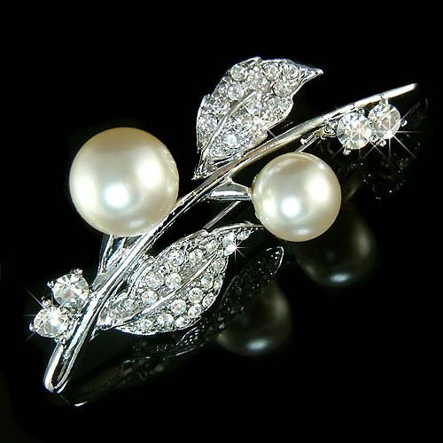 Cherry Flower Swarovski Crystal & Pearl Brooch