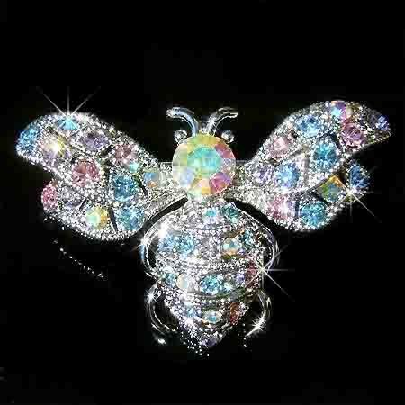 Bumble Honey Bee Swarovski Multi Color Crystal Brooch