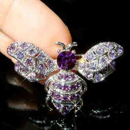 Bumble Honey Bee Swarovski Purple Crystal Brooch