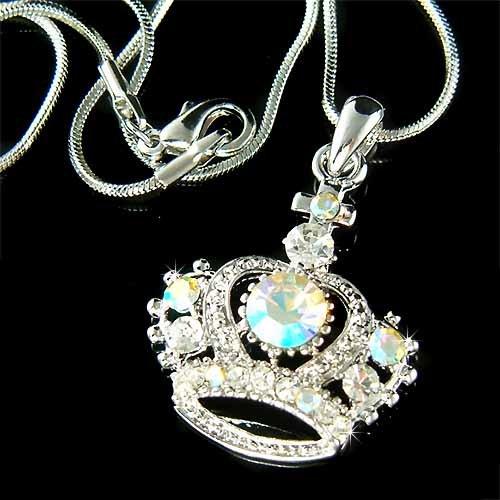Royal Princess Crown Cross Swarovski Crystal AB Pendant Necklace